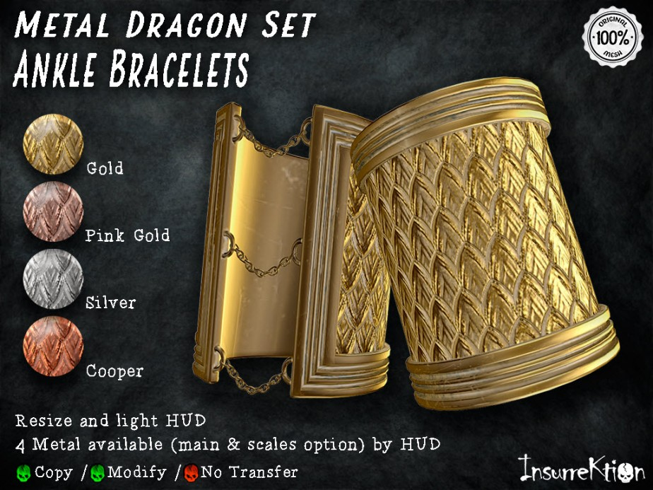 [IK] Metal Dragon Set - Ankle Bracelets